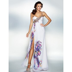 Dress Print Plus Sizes Dresses Petite A-line Sweetheart Long Floor-length Chiffon