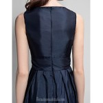 Long Floor-length Taffeta Bridesmaid Dress Dark Navy Plus Sizes Dresses Petite A-line V-neck Formal Dress Australia