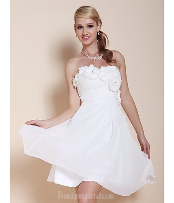 Australia Formal Dresses Cocktail Dress Party Dress Graduation Dress White Plus Sizes Dresses Petite A-line Princess Strapless Sweetheart Short Knee-length Chiffon Formal Dress Australia