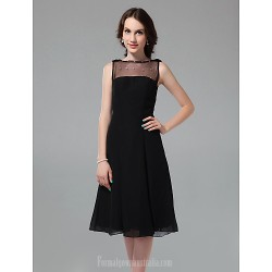 Australia Formal Dresses Cocktail Dress Party Dress Holiday Dress Black Plus Sizes Dresses Petite A-line Princess Bateau Short Knee-length Chiffon Tulle