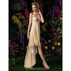 Asymmetrical Georgette Bridesmaid Dress Champagne Plus Sizes Dresses Petite A-line Sweetheart