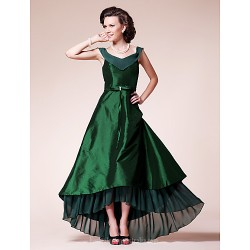A-line Plus Sizes Dresses Petite Mother of the Bride Dress Dark Green Asymmetrical Short Sleeve Chiffon Taffeta