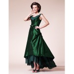 A-line Plus Sizes Dresses Petite Mother of the Bride Dress Dark Green Asymmetrical Short Sleeve Chiffon Taffeta Formal Dress Australia
