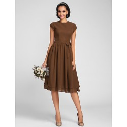 Short Knee Length Chiffon Bridesmaid Dress Brown Plus Sizes Dresses Petite A Line Jewel
