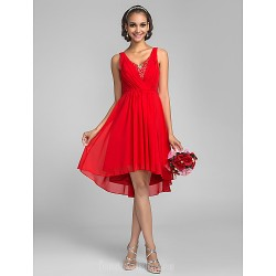 Asymmetrical Chiffon Bridesmaid Dress Ruby Plus Sizes Dresses Petite A-line V-neck