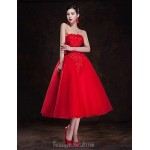 Australia Formal Dresses Cocktail Dress Party Dress Ruby Plus Sizes Dresses A-line Strapless Tea-length Tulle Formal Dress Australia