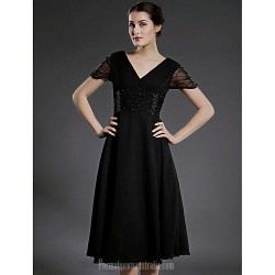 A-line Plus Sizes Dresses Petite Mother of the Bride Dress Black Tea-length Short Sleeve Chiffon Tulle