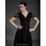 A-line Plus Sizes Dresses Petite Mother of the Bride Dress Black Tea-length Short Sleeve Chiffon Tulle Formal Dress Australia