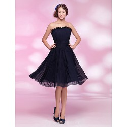 Australia Formal Dresses Cocktail Dress Party Dress Dark Navy Plus Sizes Dresses Petite A Line Princess Strapless Short Knee Length Chiffon
