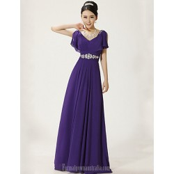 Australia Formal Dress Evening Gowns Ruby Regency Plus Sizes Dresses A-line V-neck Long Floor-length Chiffon