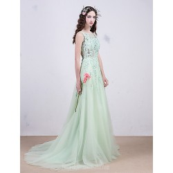 Evening Dress Light Green Beading On Lace Hollow Translucent Ball Gown Bridalwedding Dress