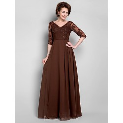 A-line Plus Sizes Dresses Petite Mother of the Bride Dress Chocolate Long Floor-length Half Sleeve Chiffon Lace