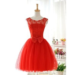 Short Knee Length Lace Tulle Stretch Satin Bridesmaid Dress Ruby Ball Gown Jewel