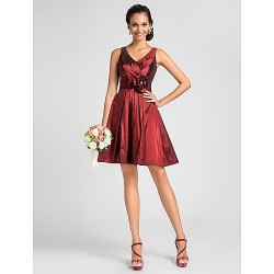 Short Knee-length Taffeta Bridesmaid Dress Burgundy Plus Sizes Dresses Petite A-line Princess V-neck