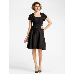 A Line Plus Sizes Dresses Petite Mother Of The Bride Dress Black Short Knee Length Short Sleeve Chiffon