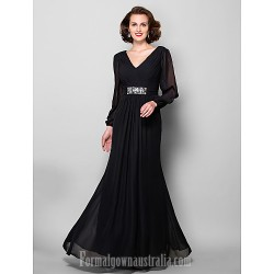 A-line Plus Sizes Dresses Petite Mother of the Bride Dress Black Long Floor-length Long Sleeve Chiffon