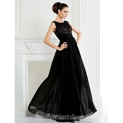 A-line Plus Sizes Dresses Petite Mother of the Bride Dress Black Long Floor-length Sleeveless Chiffon Lace