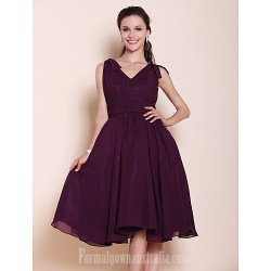 Short Knee Length Chiffon Bridesmaid Dress Grape Plus Sizes Dresses Petite A Line Princess V Neck