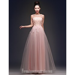 Australia Formal Dress Evening Gowns Candy Pink Plus Sizes Dresses A-line Bateau Long Floor-length Tulle Dress