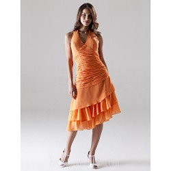 Short Knee Length Asymmetrical Chiffon Bridesmaid Dress Orange Plus Sizes Dresses Petite A Line Halter V Neck