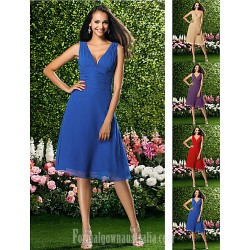Short Knee Length Chiffon Bridesmaid Dress Ruby Grape Royal Blue Champagne Plus Sizes Dresses Petite A Line V Neck