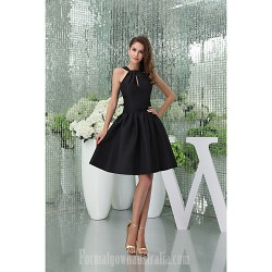 Australia Cocktail Party Dress Black Petite A-line Halter Short Knee-length Court Train Satin