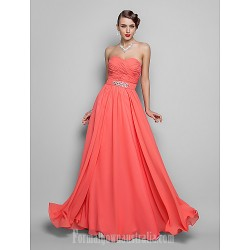 Australia Formal Evening Dress Prom Gowns Military Ball Dress Watermelon Plus Sizes Dresses Petite A-line Princess Strapless Sweetheart Long Floor-length Chiffon