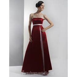 Long Floor Length Satin Bridesmaid Dress Burgundy Plus Sizes Dresses Petite A Line Strapless
