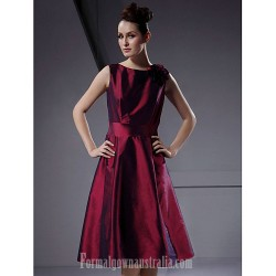 Short Knee-length Taffeta Bridesmaid Dress Burgundy Plus Sizes Dresses Petite A-line Princess Bateau