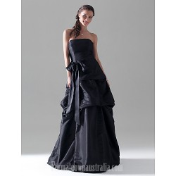Long Floor-length Taffeta Bridesmaid Dress Black Plus Sizes Dresses Petite A-line Princess Strapless