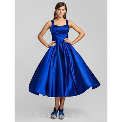 Prom Gowns Australia Formal Dresses Cocktail Dress Party Dress Royal Blue Plus Sizes Dresses Petite A-line Princess Straps Tea-length Stretch Satin