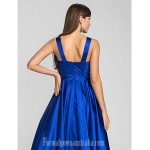 Prom Gowns Australia Formal Dresses Cocktail Dress Party Dress Royal Blue Plus Sizes Dresses Petite A-line Princess Straps Tea-length Stretch Satin Formal Dress Australia