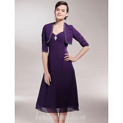 A Line Plus Sizes Dresses Petite Mother Of The Bride Dress Grape Tea Length Half Sleeve Chiffon