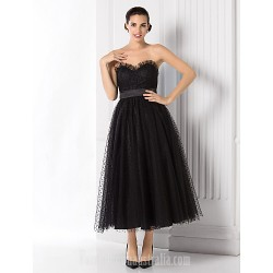 Australia Formal Dress Evening Gowns Black Plus Sizes Dresses Petite A-line Princess Sweetheart Tea-length Tulle