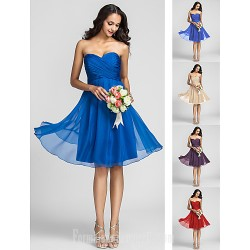 Short Knee-length Chiffon Bridesmaid Dress Ruby Grape Royal Blue Champagne Plus Sizes Dresses Petite A-line Sweetheart