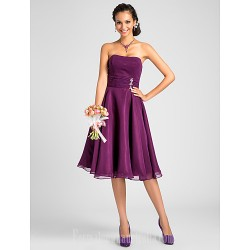 Short Knee Length Chiffon Bridesmaid Dress Grape Plus Sizes Dresses Petite A Line Princess Strapless