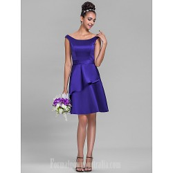 Short Knee Length Satin Bridesmaid Dress Regency Plus Sizes Dresses Petite A Line Off The Shoulder