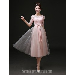Australia Formal Dress Evening Gowns As Picture A-line Bateau Tea-length Satin