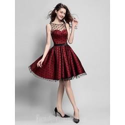 Australia Formal Dresses Cocktail Dress Party Dress Burgundy Plus Sizes Dresses Petite A-line Jewel Short Knee-length Satin Tulle