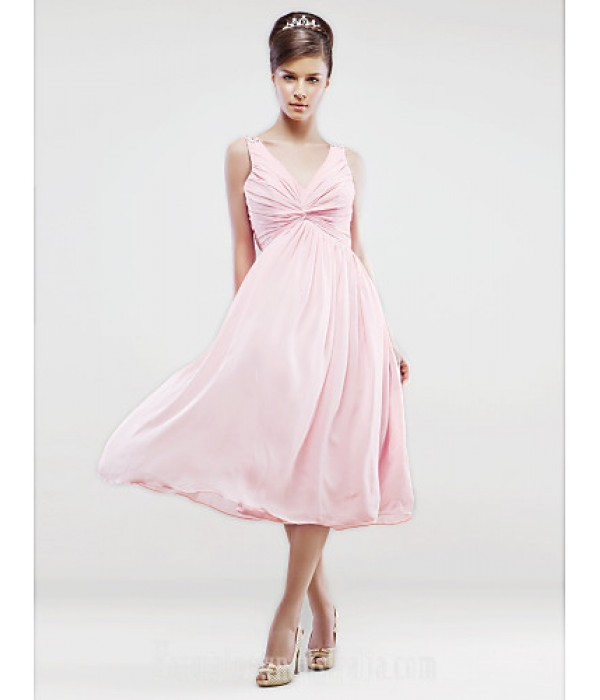 Tea-length Chiffon Bridesmaid Dress Blushing Pink Plus Sizes Dresses Petite A-line V-neck Formal Dress Australia