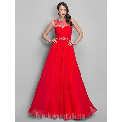 Australia Formal Evening Dress Prom Gowns Military Ball Dress Ruby Plus Sizes Dresses Petite A-line Princess Jewel Long Floor-length Chiffon