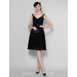 Short Knee Length Chiffon Lace Bridesmaid Dress Black Plus Sizes Dresses Petite A Line V Neck