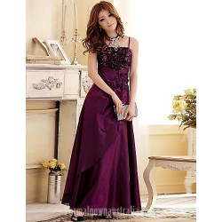 Australia Formal Dress Evening Gowns Burgundy Grape Dark Navy Plus Sizes Dresses A-line Princess Spaghetti Straps Long Floor-length Satin