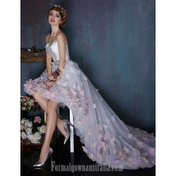 Dress Multi Color Ball Gown Strapless Asymmetrical Tulle Charmeuse