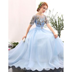 Australia Formal Dress Evening Gowns Sky Blue A-line Jewel Long Floor-length Spandex
