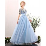 Australia Formal Dress Evening Gowns Sky Blue A-line Jewel Long Floor-length Spandex Formal Dress Australia