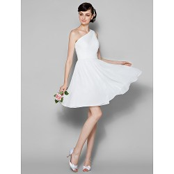 Short Knee-length Georgette Bridesmaid Dress Ivory Plus Sizes Dresses Petite A-line Sexy One Shoulder
