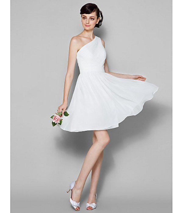 Short Knee-length Georgette Bridesmaid Dress Ivory Plus Sizes Dresses Petite A-line Sexy One Shoulder Formal Dress Australia