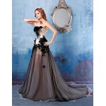 Australia Formal Dress Evening Gowns Black A-line Strapless Chapel Train Satin Formal Dress Australia