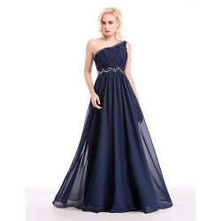 Australia Formal Dresses Cocktail Dress Party Dress Australia Formal Dress Evening Gowns Dark Navy Ball Gown Sexy One Shoulder Long Floor Length Chiffon